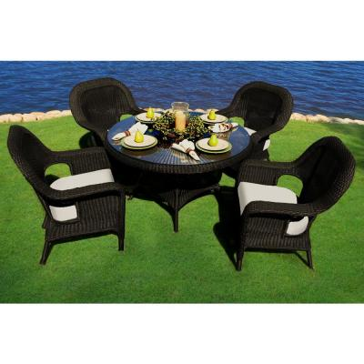 Sea Pines Tortoise 5-Piece Wicker Outdoor Dining Set with Sunbrella Canvas Cushions