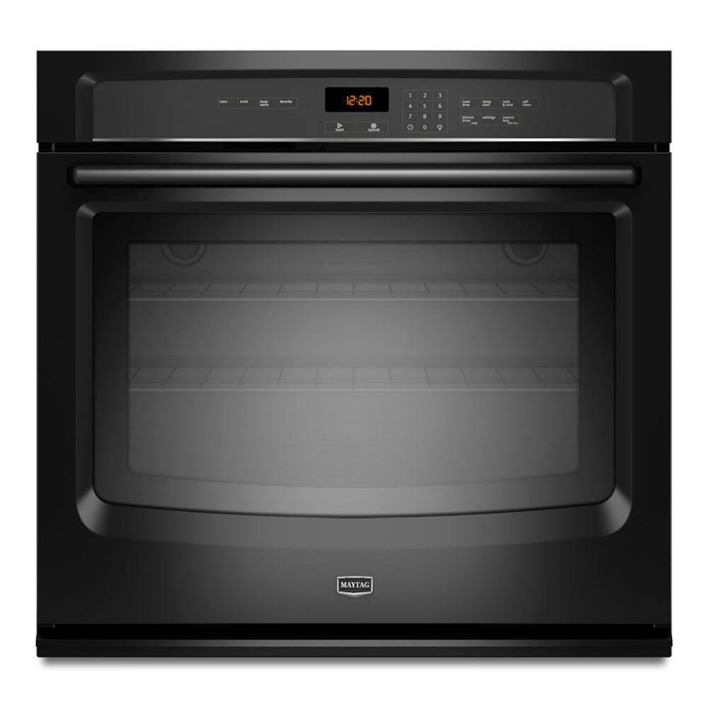 Maytag 30 in. Single Electric Wall Oven Self-Cleaning in Black