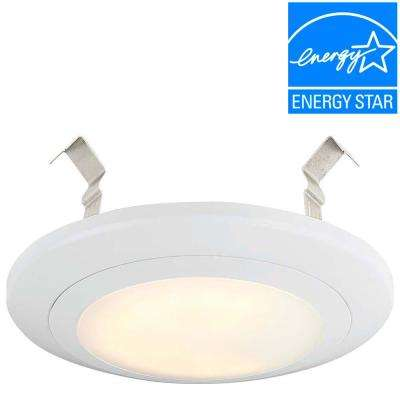 4 in. White Integrated LED J-Box or Recessed Can Mounted LED Disk Light Trim, 2700K