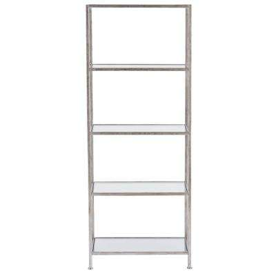 Bella Aged Silver 24 in. Wide Glass Bookcase