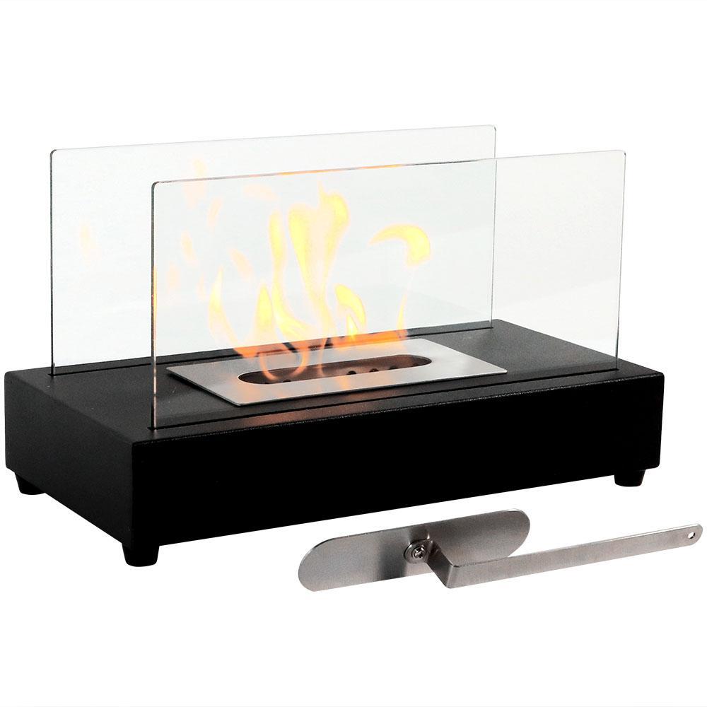 El Fuego 14 in. Bio-Ethanol Tabletop Fireplace in Black