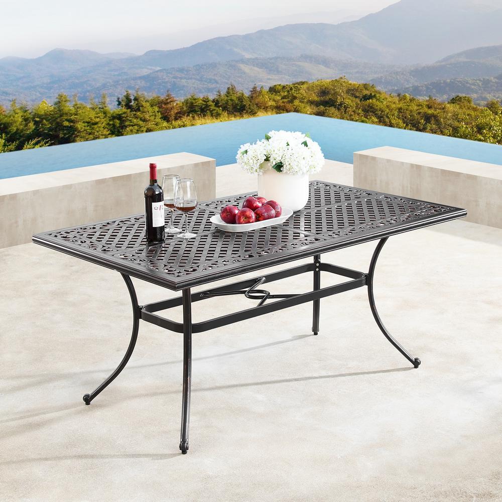 Traditional Ornate Mesh Lattice Antique Copper Rectangular Aluminum 64 in. Outdoor Dining Table