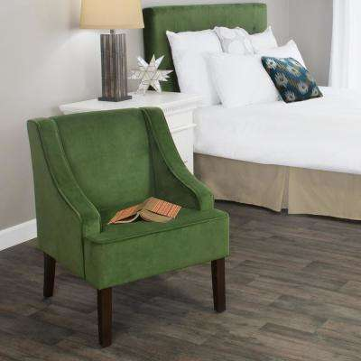Swoop Arm Velvet Accent Chair Forest