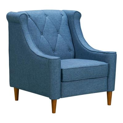 Luxe Blue Fabric Sofa Chair