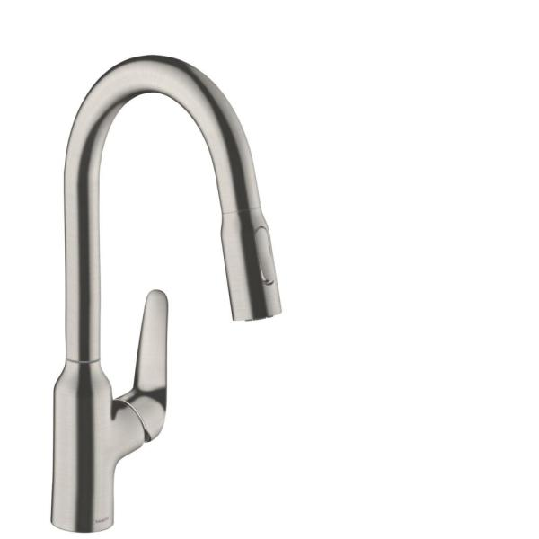 Focus N Single-Handle Pull-Down Sprayer Kitchen Faucet in Steel Optic