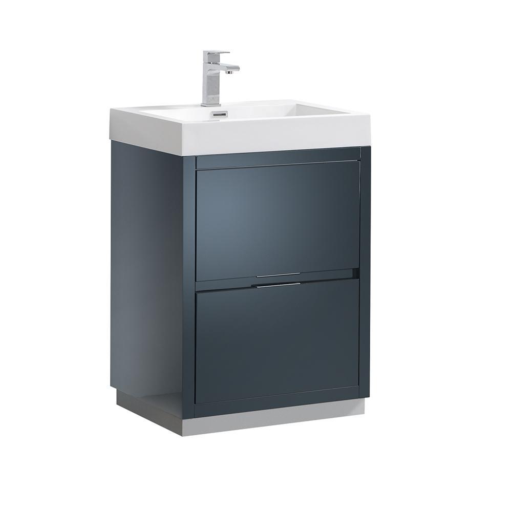 Valencia 24 in. W Bathroom Vanity in Dark Slate Gray with Acrylic Vanity Top in White