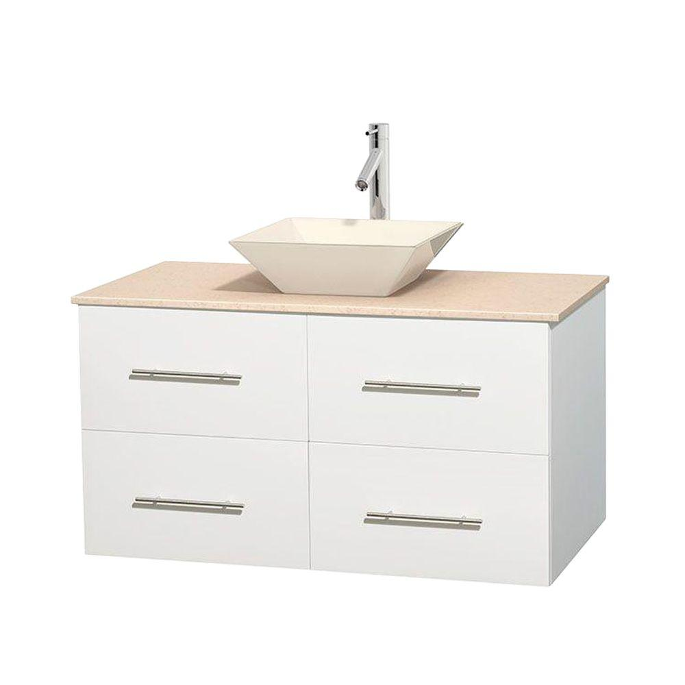 Wyndham Collection Centra 42 in. Vanity in White with Marble Vanity Top in Ivory and Bone Porcelain Sink