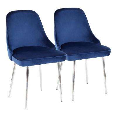 Marcel Navy Blue Velvet and Chrome Dining Chair (Set of 2)