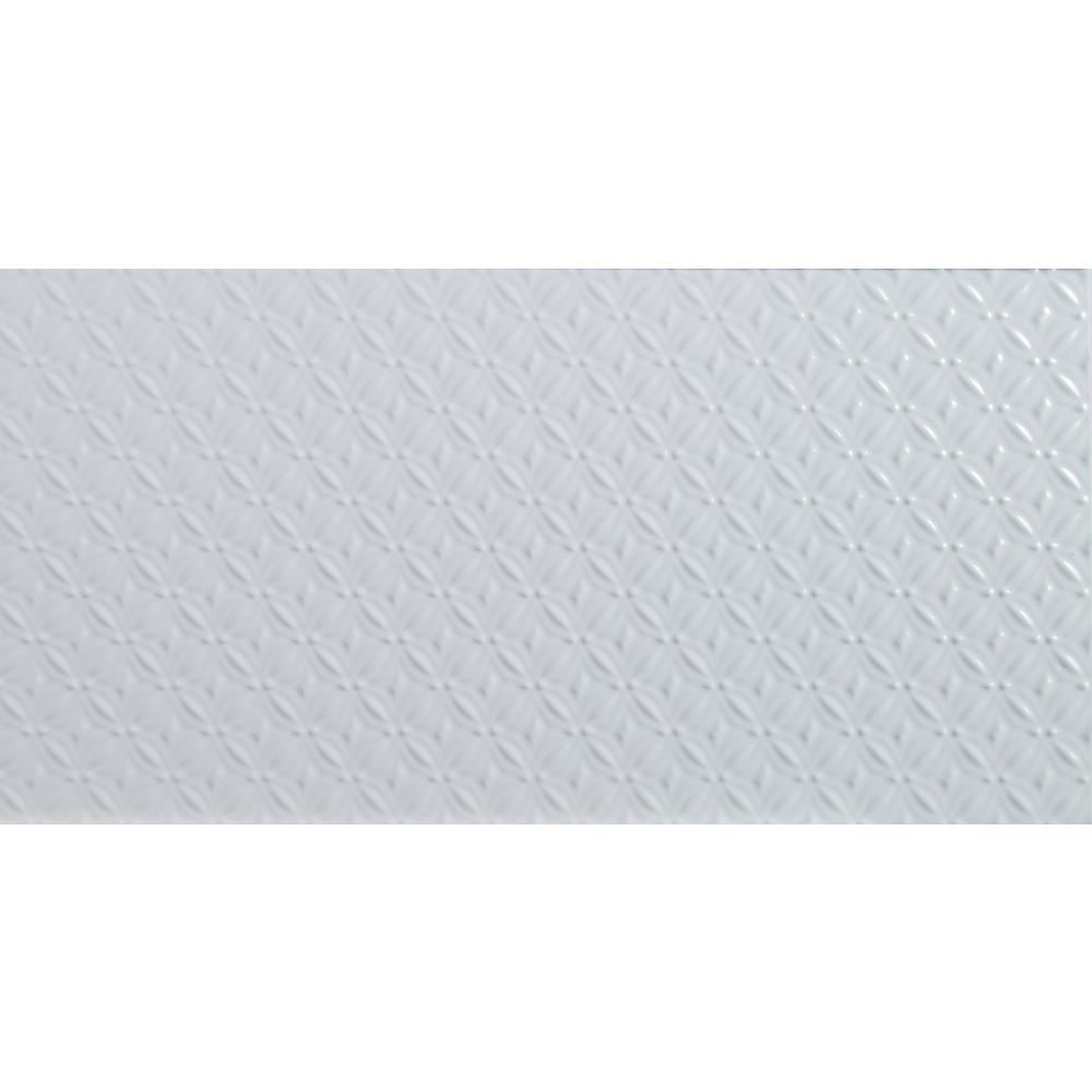 Dymo Pattern White Glossy 12 in. x 24 in. Glazed Ceramic