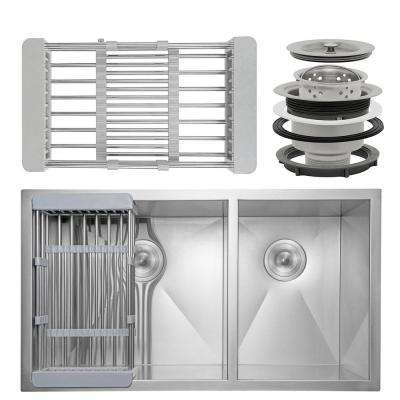Handcrafted All-in-One Undermount Stainless Steel 33 in. x 22 in. x 9 in. Double Bowl Kitchen Sink with Tray and Drain