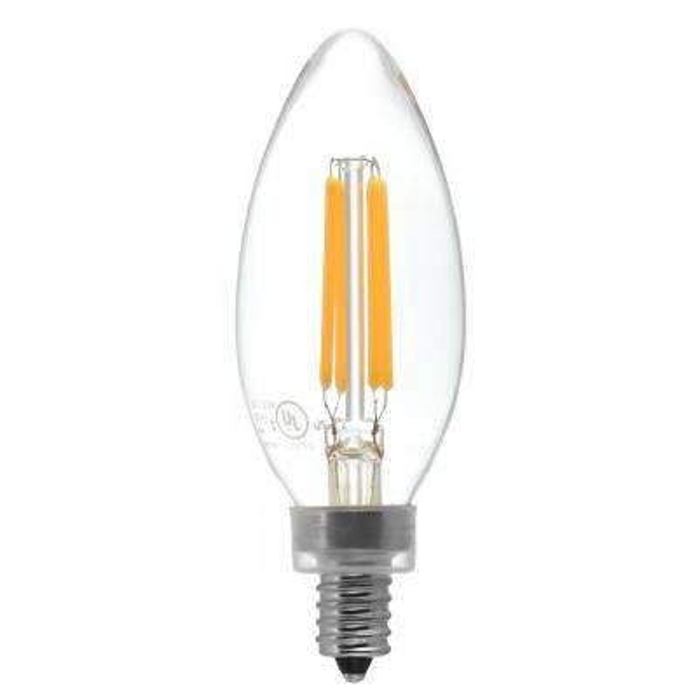 40-Watt Equivalent Candelabra Base (E12) Antique White (2200K) Dimmable Clear LED Blunt Tip C11 Light Bulb