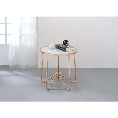 Alivia Rose Gold and Frosted Glass Top End Table