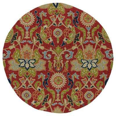 Home And Porch Garden Red 6 Ft Indoor Outdoor Round Area Rug