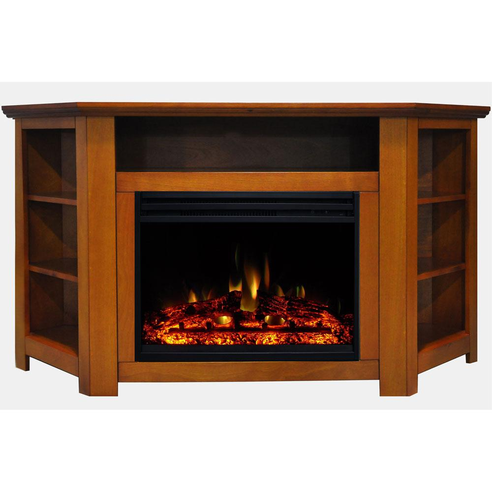 Excellent Cambridge Stratford 56 In Corner Electric Fireplace Heater Tv Stand In Teak With Enhanced Log Display And Remote Beutiful Home Inspiration Semekurdistantinfo