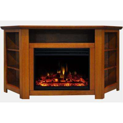 Stratford 56 in. Corner Electric Fireplace Heater TV Stand in Teak with Enhanced Log Display and Remote