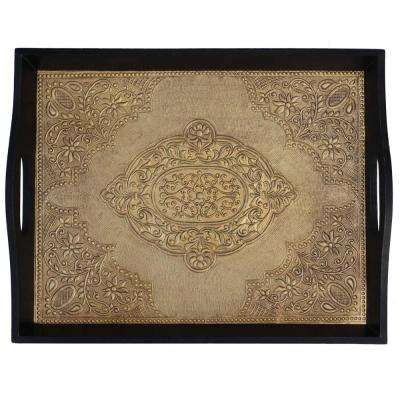 Black and Gold Brass Decorated Wooden Tray
