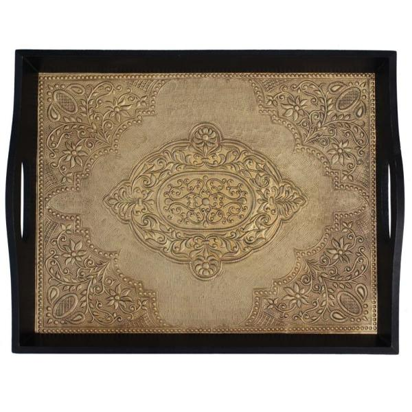 Benzara Black and Gold Brass Decorated Wooden Tray
