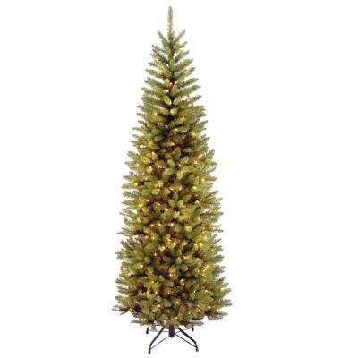 7 ft. Kingswood Fir Pencil Artificial Christmas Tree with Clear Lights - 7 Ft - Artificial Christmas Trees - Christmas Trees - The Home Depot