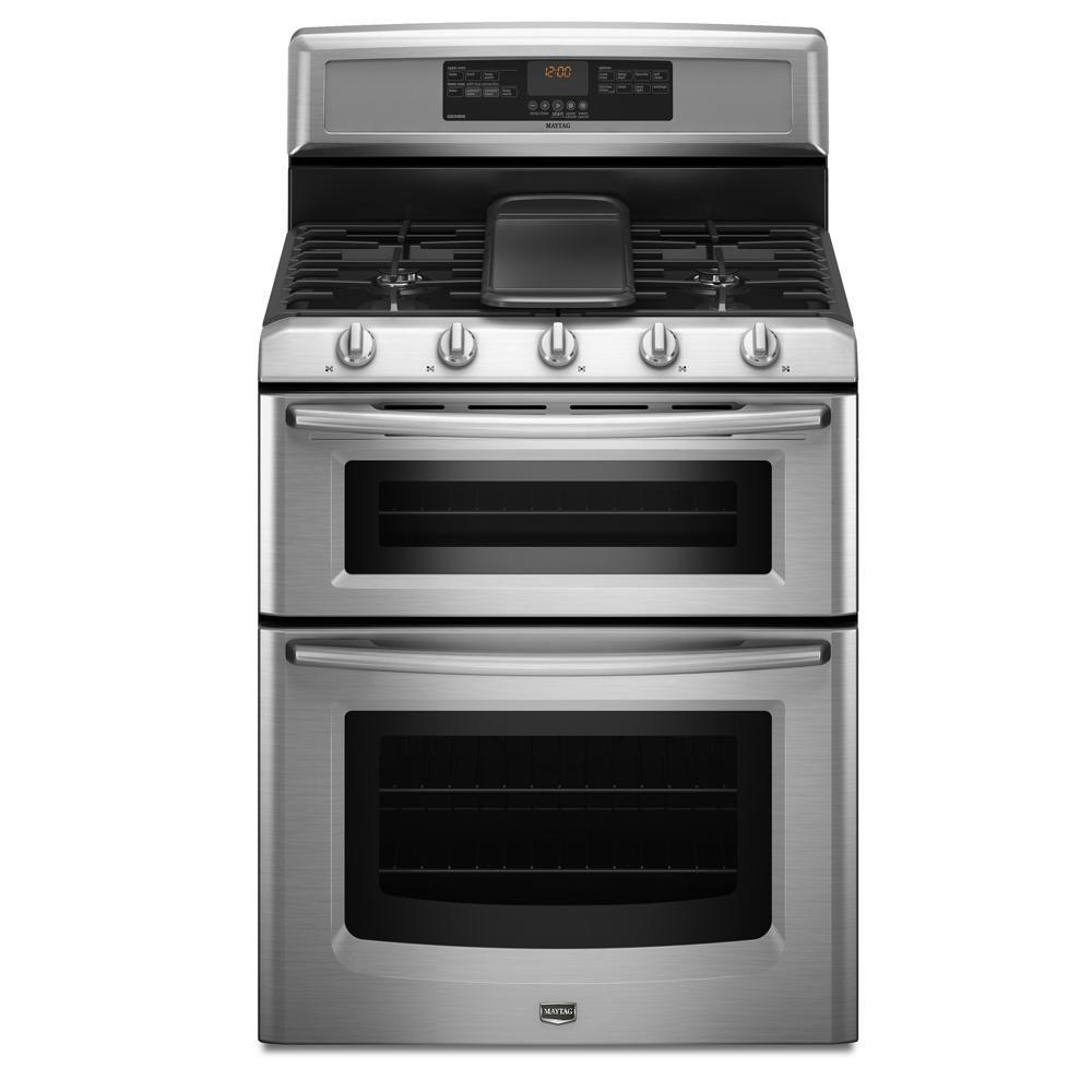 Maytag Gemini 6 cu. ft. Double Oven Gas Range with Self-Cleaning Convection Oven in Stainless Steel-DISCONTINUED