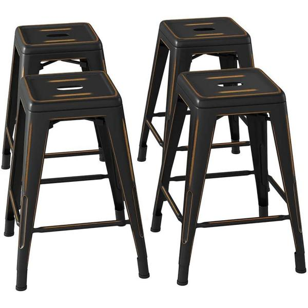 24 in. Gold Black Bar Stools Distressed Backless Metal Bar Stools, Stackable Kitchen Stool,Patio Bar Chair (Set of 4)
