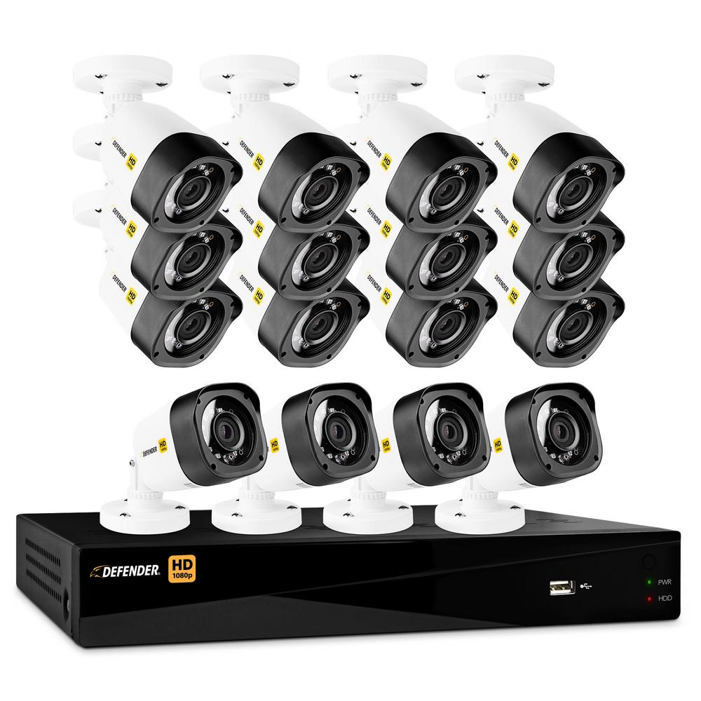16-Channel HD 1080p 2TB DVR Security System and 16 Bullet Cameras