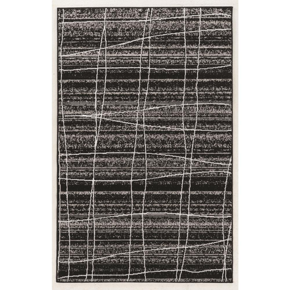 Linon Home Decor Capri Mod Plaid Black With Gray And White 5 Ft. X 7