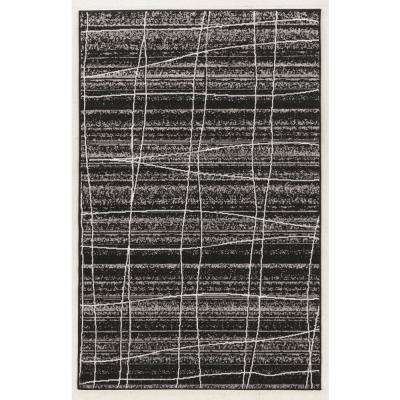 Capri Mod Plaid Black with Gray and White 5 ft.  x 7 ft. Area Rug