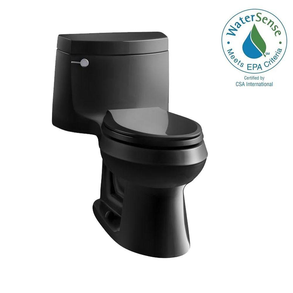 KOHLER Cimarron 1-piece 1.28 GPF Single Flush Elongated Toilet with AquaPiston Flush Technology in Black Black