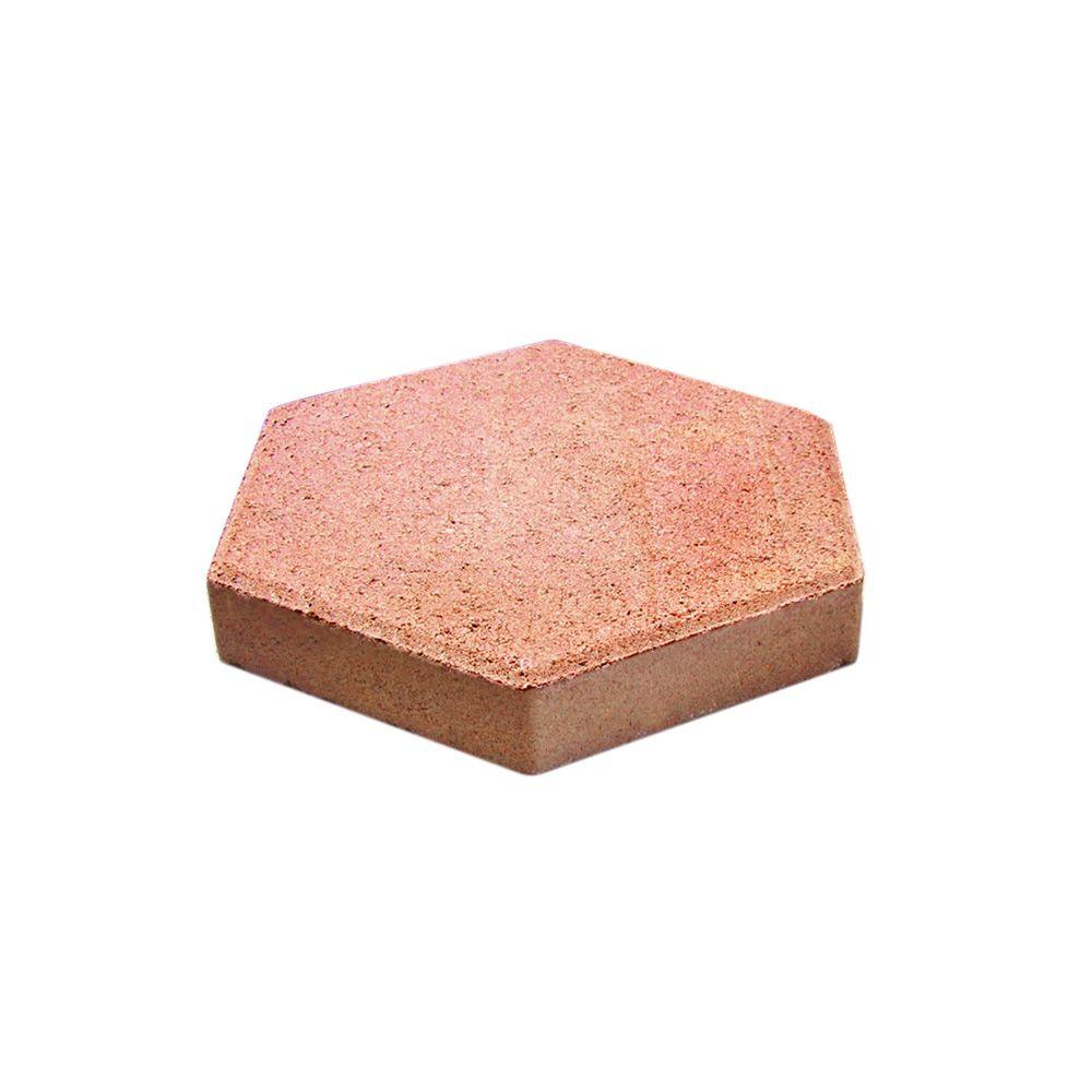 hexagon red concrete patio block step stone - Home Depot Patio Blocks