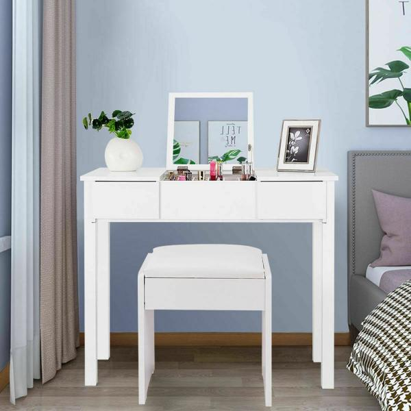 Costway 2 Piece White Vanity Dressing Table Set Mirrored Bedroom Furniture With Stool And Storage Box Hw53894wh The Home Depot