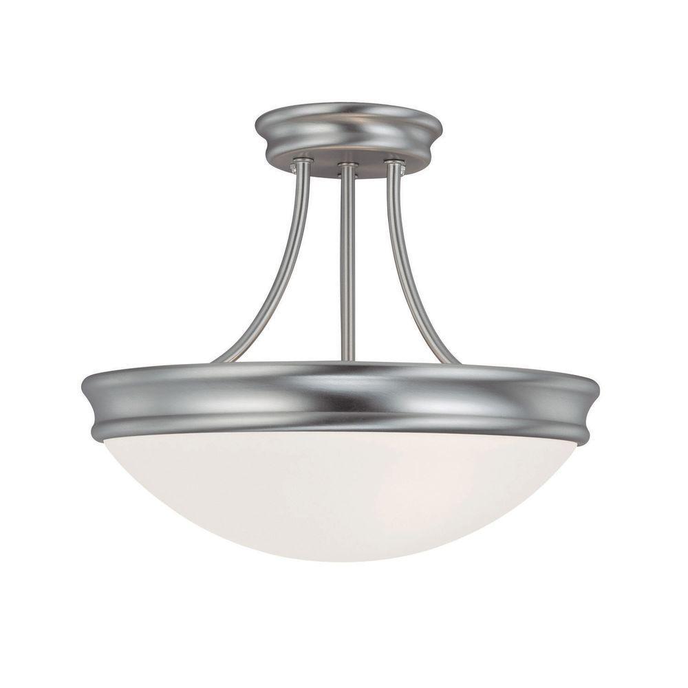 Filament Design 3-Light Matte Nickel Semi-Flush Mount Light with White Glass