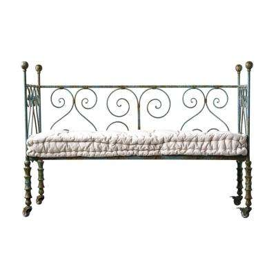 Casual Country Heavily Distressed Blue Metal Daybed with Plush White Cushion
