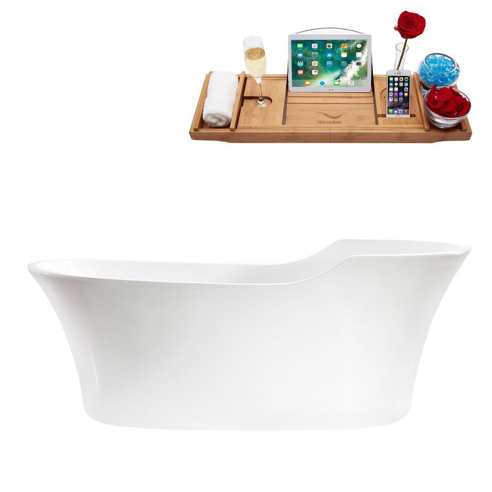 67.7 in. Acrylic Flatbottom Non-Whirlpool Bathtub in White