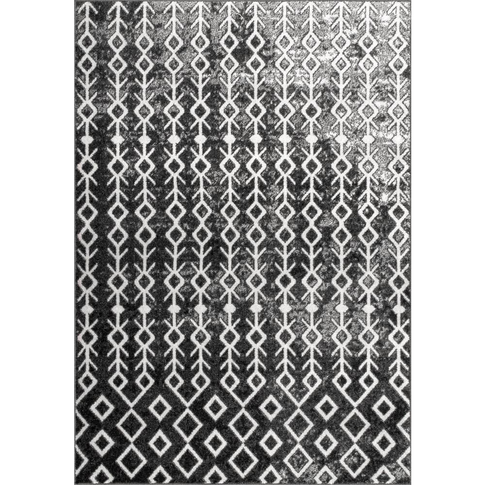 Nuloom Alice Tribal Diamonds Black White 8 Ft X 10 Area Rug
