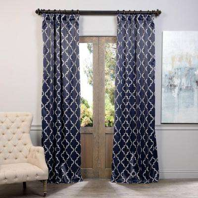 Semi-Opaque Seville Navy Blackout Curtain - 50 in. W x 108 in. L (Panel)