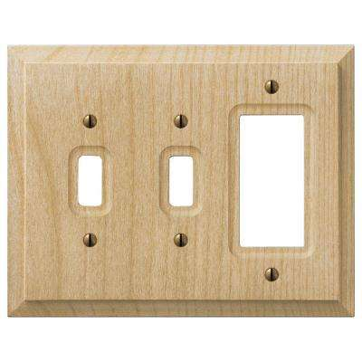 2 Toggle and 1 Rocker Combination Wall Plate - Unfinished Wood
