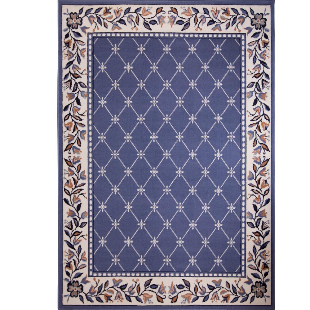 Premium Ivory/Blue 5 ft. 2 in. x 7 ft. 4 in. Indoor Area Rug