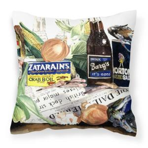 14 in. x 14 in. Multi-Color Lumbar Outdoor Throw Pillow Barqs Crabs and Spices Decorative Canvas Fabric Pillow