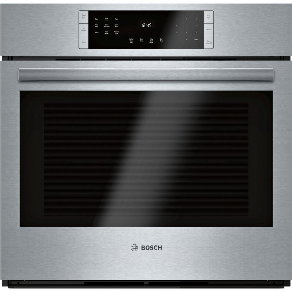 Bosch 800 Series 30 in. Single Electric Wall Oven with European Convection Self-Cleaning in Stainless Steel