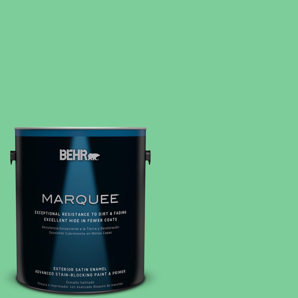 BEHR MARQUEE 1-gal. #460B-4 Garden Glow Satin Enamel Exterior Paint