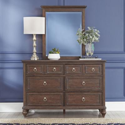 Southport 6-Drawers Dark Aged Oak Brown Dresser with Mirror