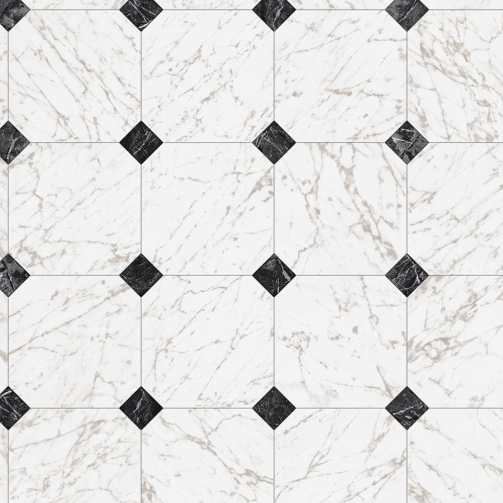TrafficMASTER Black and White Marble Paver 12 ft. Wide x Your Choice Length Residential Vinyl Sheet