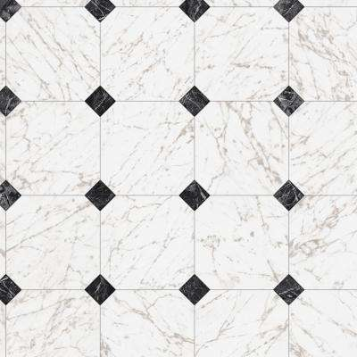 Black and White Marble Paver Residential Vinyl Sheet, Sold by 12 ft. Wide x Custom Length