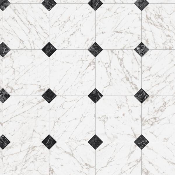 Black and White Marble Paver Residential Vinyl Sheet Flooring 12ft. Wide x Cut to Length