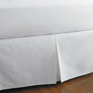 Classic Cotton Percale 14 in. White Solid Queen Bed Skirt