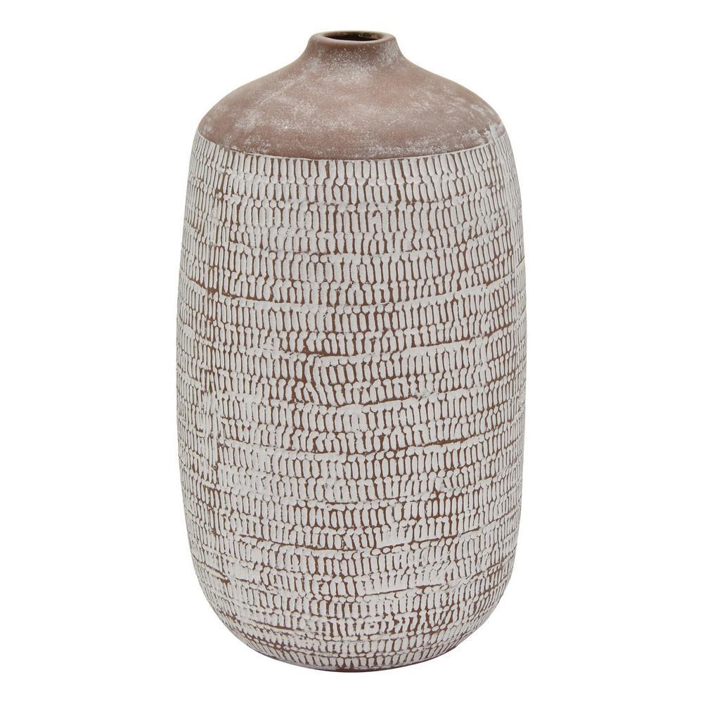17 in. Brown Ceramic Vase