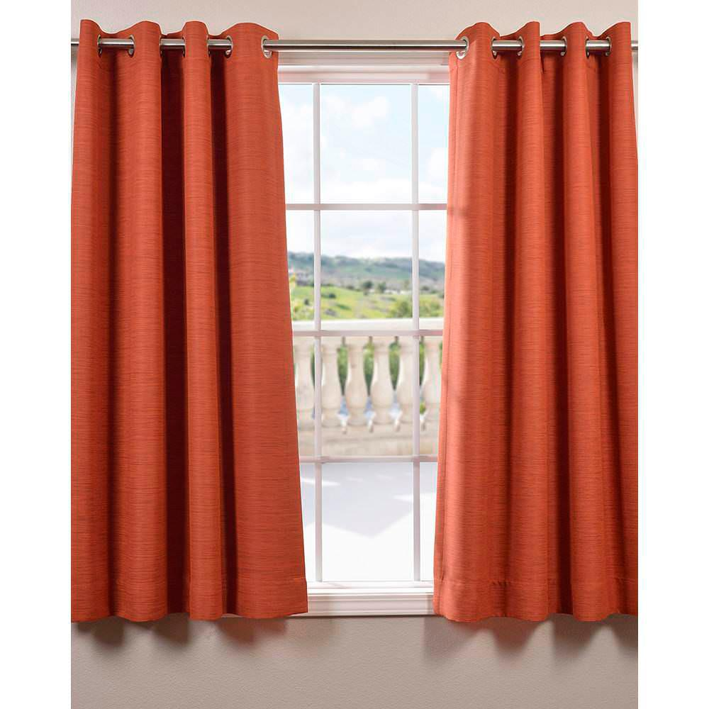 Exclusive Fabrics & Furnishings Semi-Opaque Persimmon Bellino Grommet Blackout Curtain - 50 in. W x 63 in. L (Panel)