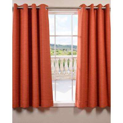 Semi-Opaque Persimmon Bellino Grommet Blackout Curtain - 50 in. W x 63 in. L (Panel)