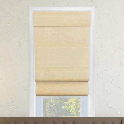 Cordless Double Layered Roman Shade/Window Blind Fabric Curtain Drape,100% Cotton, Privacy -Cotton Sand, 31 in. x 64 in.