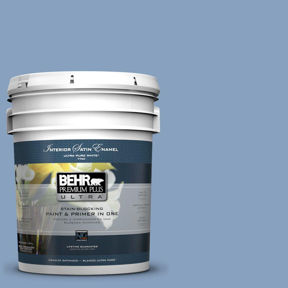 BEHR Premium Plus Ultra 5-gal. #PPU14-7 Hawaiian Sky Satin Enamel Interior Paint